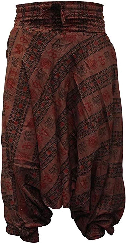 SHOPOHOLIC FASHION Om Print Loose fit Harem Trouser, Great Comfort Yoga Pants, Hippy Hippy (Black & White)