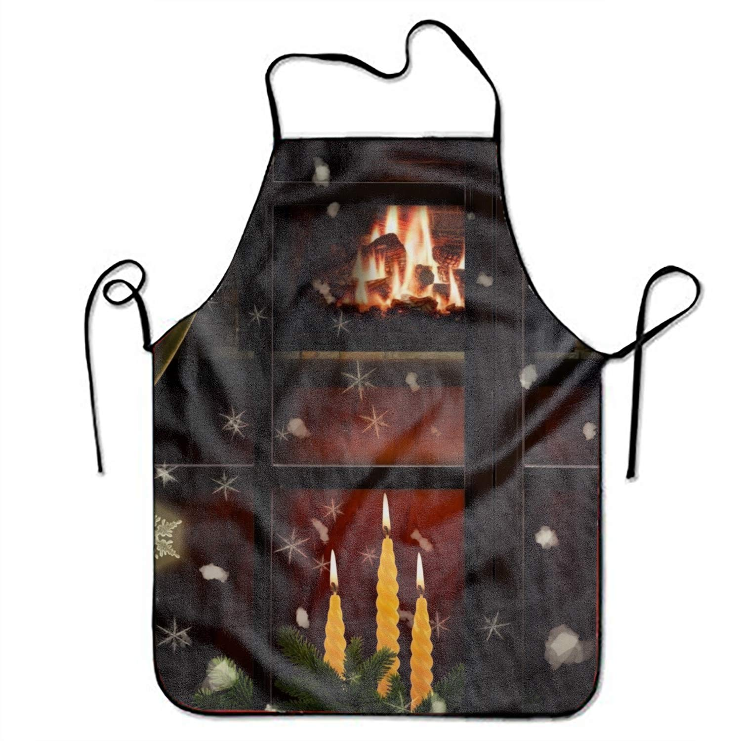 MXYG Unisex Custom Aprons Holiday Christmas Tree Candle Window Snowflake Fireplace Waterproof Aprons with Adjustable Kitchen Cooking and Bib BBQ Apron