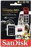 【JNH独自5年保証】microSDXC 64GB SanDisk Extreme PRO UHS-1 U3 V30 4K Ultra HD アプリ最適化 A2対応 SDアダプター付 [並行輸入品]
