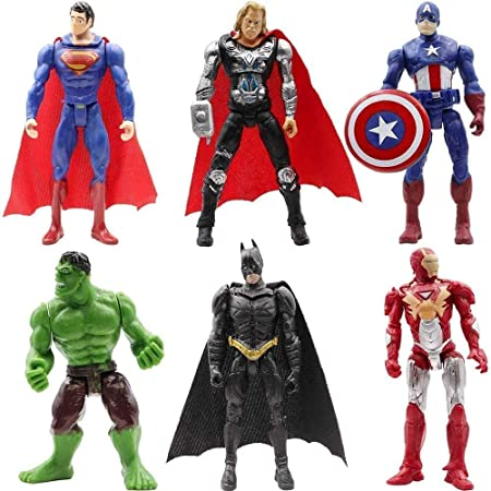 Superhero Action Figures Batman Superman Hulk Thor Ironman Captain America Children's Toys PVC Figure Toy Dolls 4inch 6 PCS Cake Topper