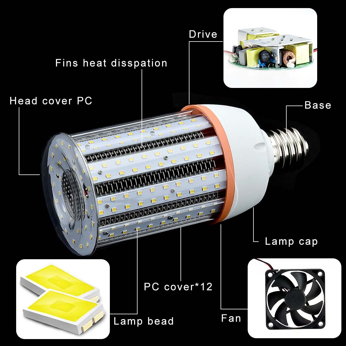 Phenas 30W LED Corn Light Bulb for Indoor Outdoor Large Area for Street Lamp Post Lighting Garage Factory Warehouse High Bay Barn Porch Backyard Large Mogul Screw Base E39 5000Lm 5000K Day White