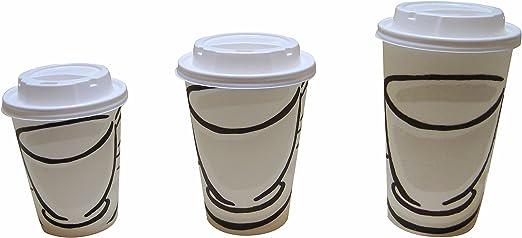 Tazas de café de papel desechables Benders Milano Barrier, con tapas blancas que permiten dar sorbos (250 ml, 340 ml y 450 ml), 8oz (250ml) 68 Pack: Amazon.es: Hogar