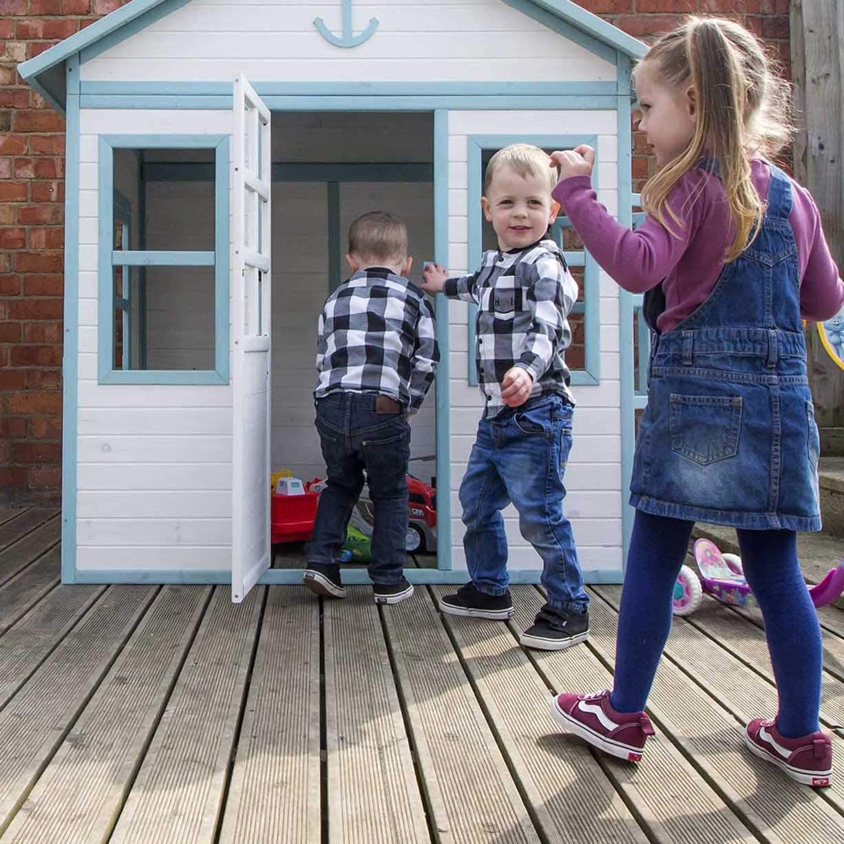 Airwave Childrens Painted Wooden Playhouse Large Kids Garden Outdoor Play Beach