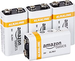 AmazonBasics 9 Volt Everyday Alkaline Battery - Pack of 4