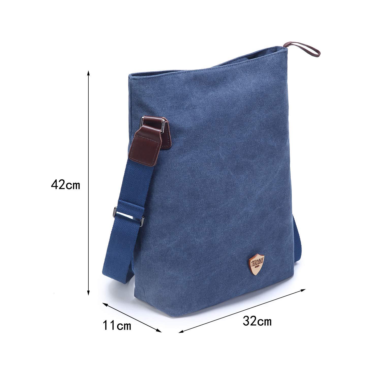 Tehomax Canvas Crossbody Bag Vintage Tote Bags Messenger Shoulder Satchel Hobo Handbags Weekender Bag