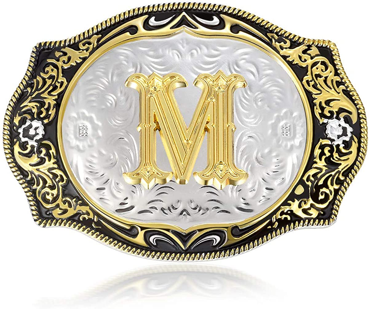 Western Belt Buckle Initial Letter ABCDE-Z Cowboy Style Rodeo Gold Metal Buckles for Mens Women