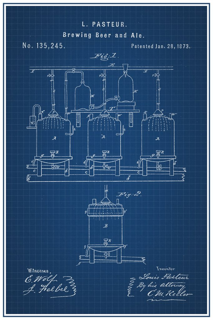 Brewing Beer and Ale Louis Pasteur Official Patent Blueprint Framed Poster 14x20 inch