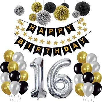 Yoart 16th Birthday Decorations Party Supplies For Boy Men With Happy Banner Swirl Decor Latex Balloons Silver Black And Gold Amazoncouk