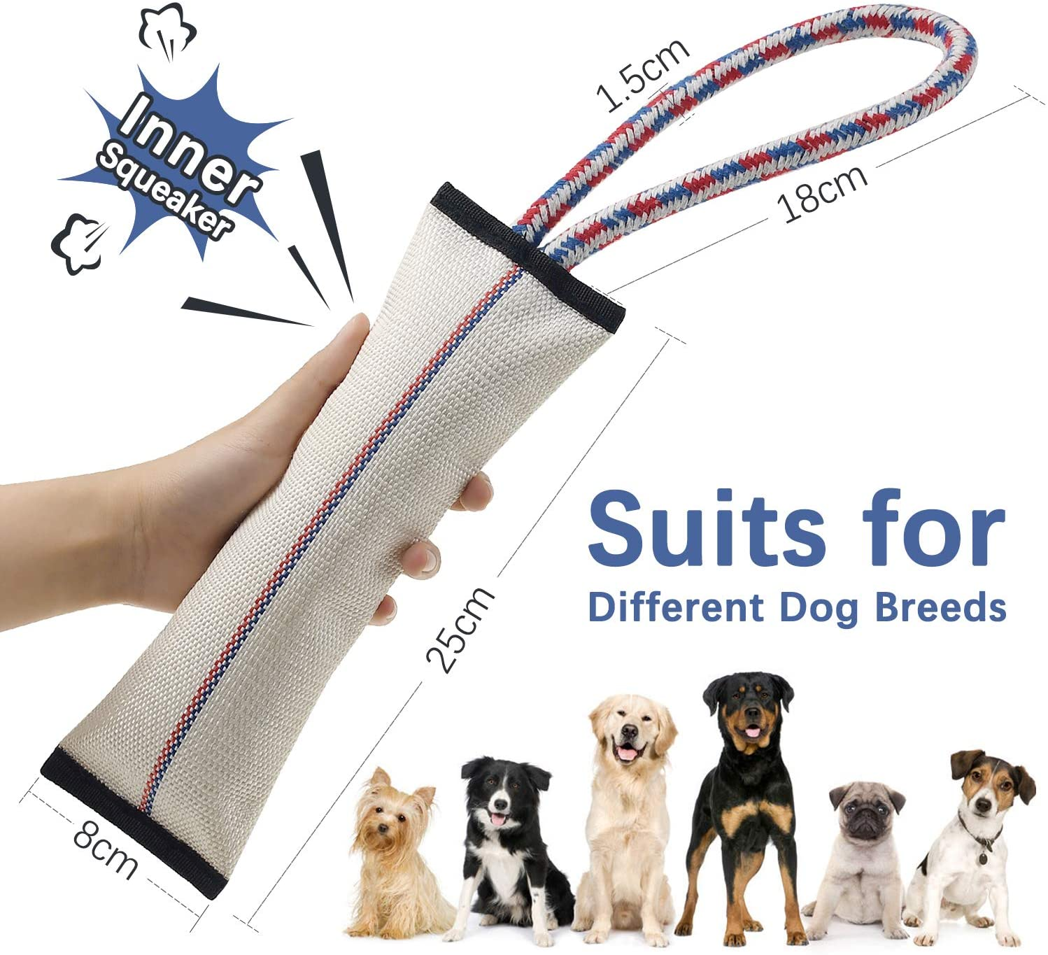 Tough Dog Toys for Aggressive Chewers,Dog Chew Toys,Dog Tug Toy,Firehose Dog Toys,Interactive Dog Toys for Large Dogs,Dog Squeaky Toys with Strong Cotton Rope Handle,Pet Toys for Small Dog Toys Pack 2