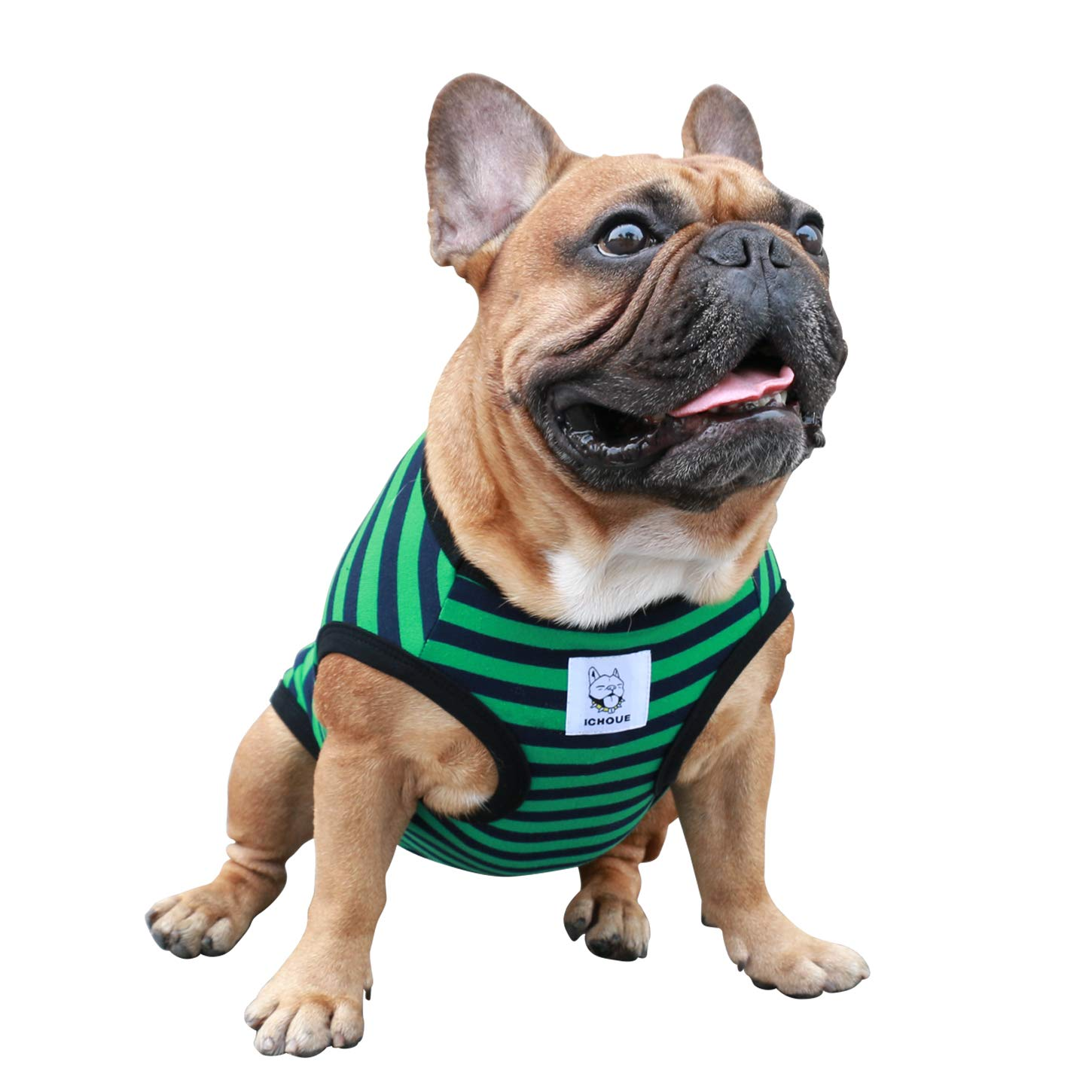 iChoue Dog Clothes Vest Tee Shirt for French Bulldog Pug Boston Terrier Frenchie- L Green Black Stripe by iChoue