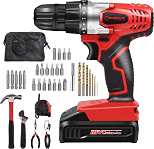 WORKSITE 34 Pcs Household Tool and Accessories Kit Including 18V Cordless Drill Driver Rechargeable 15+1 Position Keyless Torque Clutch, Variable Speed Switch, Screwdriver Accessory Set with Tool Bag