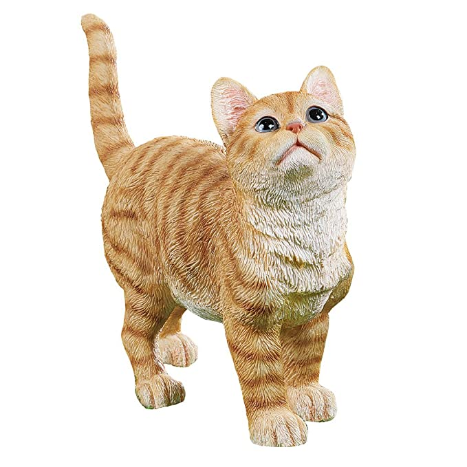 Collections Etc Cute Kitty Orange Tabby Cat Garden Statue Outdoor Decoration