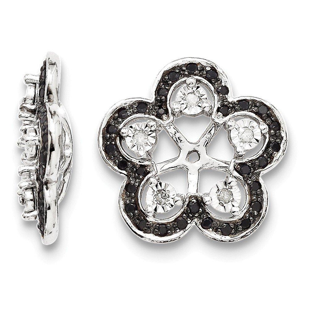 Sterling Silver Rhodium Diamond & Black Sapphire Earring Jacket