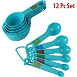 Hokipo Plastic Measuring Cups And Spoon Set With Ring Holder, 12 Piece Set, Blue