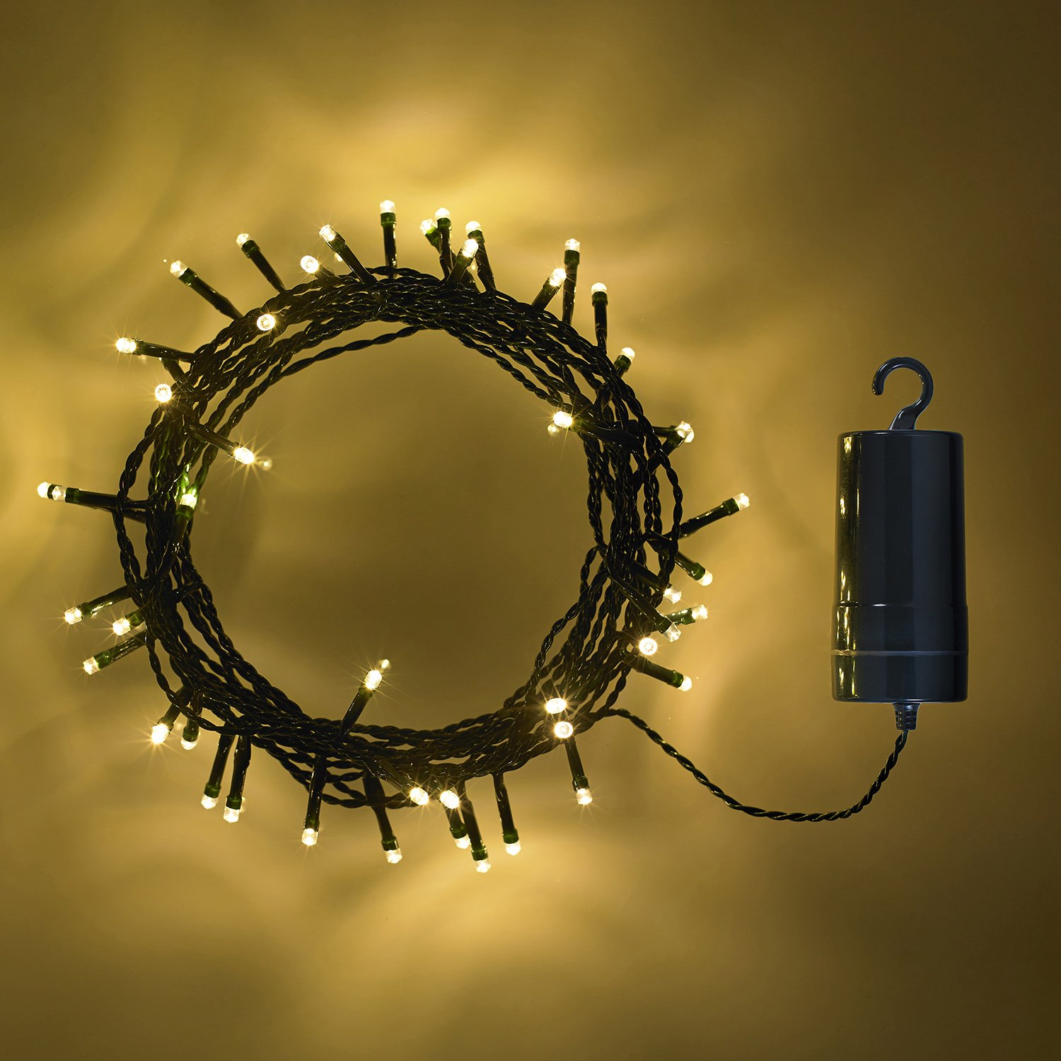 100 Multi Coloured LED Outdoor Battery Operated Fairy Lights on Green Cable by Lights4fun
