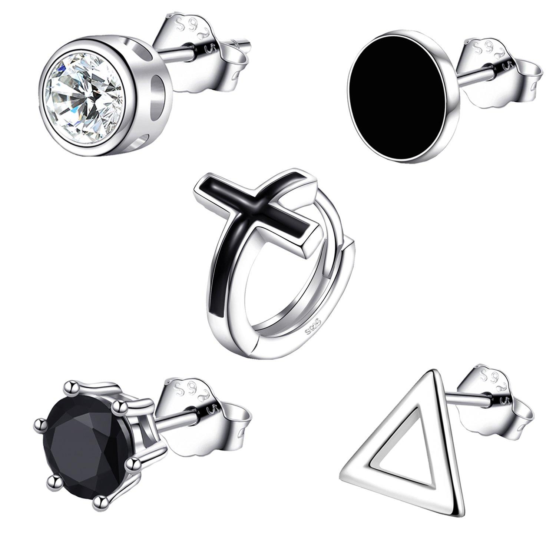 Earrings for Men, 5 SINGLE Mens Hoop Stud Earrings Set, 925 Sterling Silver CZ Hypoallergenic Fashion Jewelry, Black Triangle Cross Round Crown Style with Gift Box (5 SINGLE Mens Earrings -Style 1)