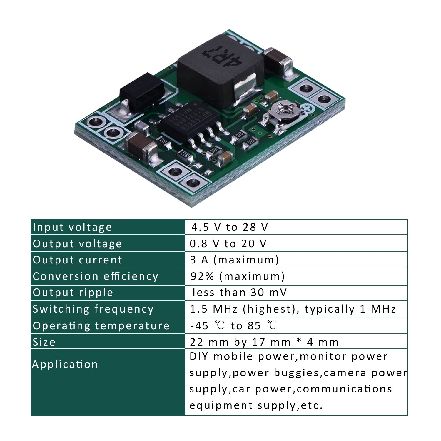 Eboot Mini Mp1584en Dc Buck Converter Adjustable Switching Power Supply Schematic 3a Voltage Regulator Based Step Down Module 24v To 12v 9v 5v 3v 6 Pack Electronics
