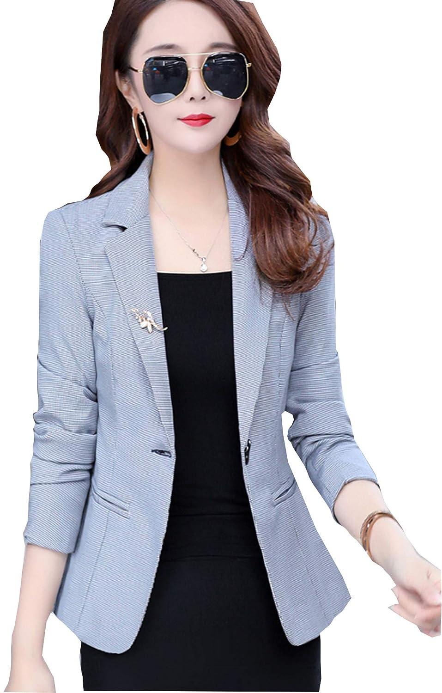 1  bluee My Wonderful World Women's Long Sleeve Welt Pocket Split Open Front Tuxedo Suits