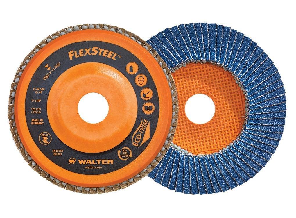 Walter Surface Technologies 15W462 Flexsteel High Performance Flap Disc, Zirconia Alumina, 4-1/2' Diameter, 7/8' Arbor, 120 Grit (Pack of 10) 4-1/2 Diameter 7/8 Arbor J. Walter Company Ltd