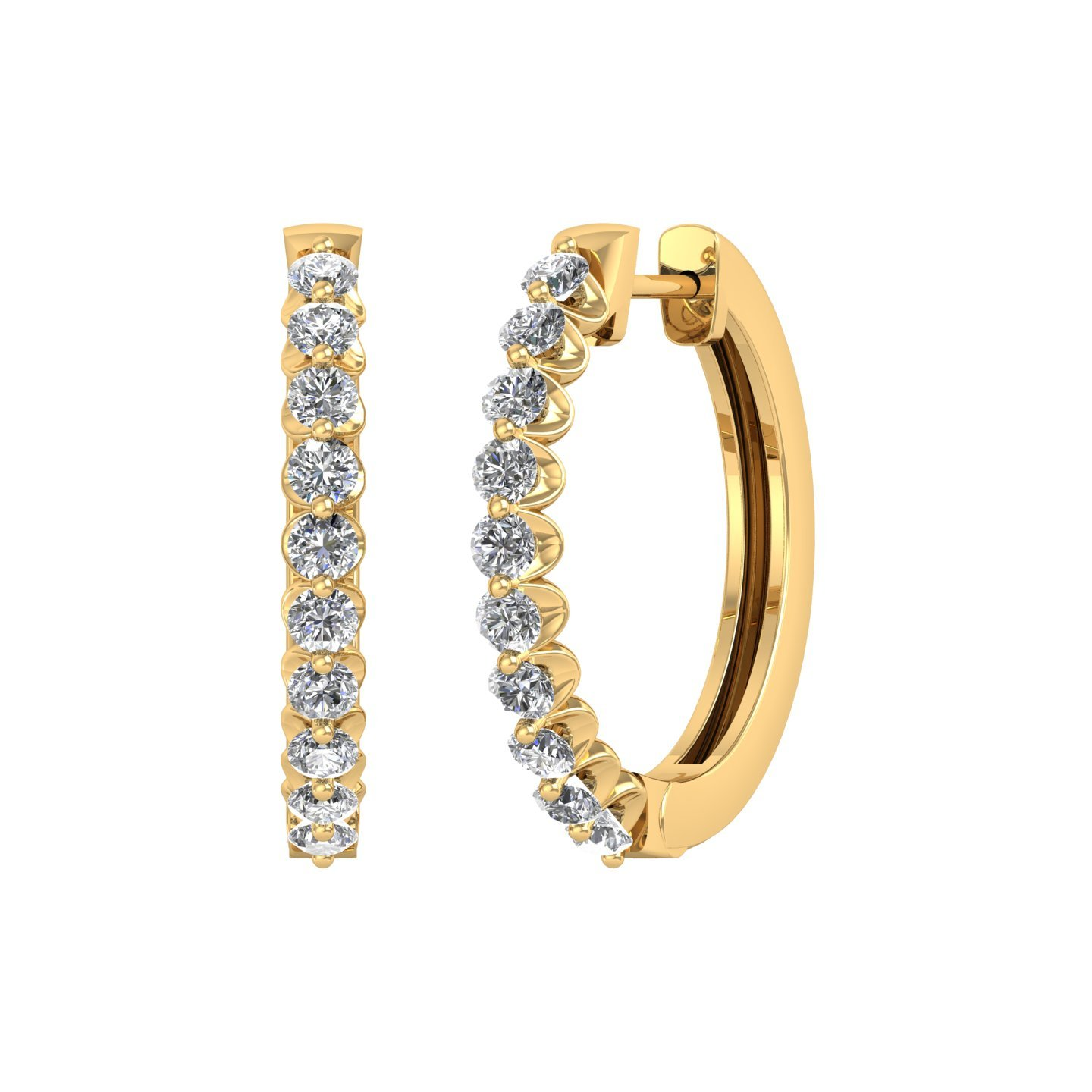 14k Yellow Gold Round Diamond Prong Set Hoop & Huggies Earring (1/2 Carat)