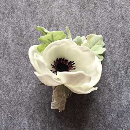 Amazon artificial white pu anemone flower diy groom boutonniere artificial white pu anemone flower diy groom boutonniere man suit corsage wedding flowers decoration4 mightylinksfo