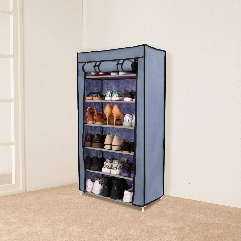 Flipzon Steel and Fabric Multi-Purpose Shoe Rack, 6-7 Shelf, Organiser, (Random Color)
