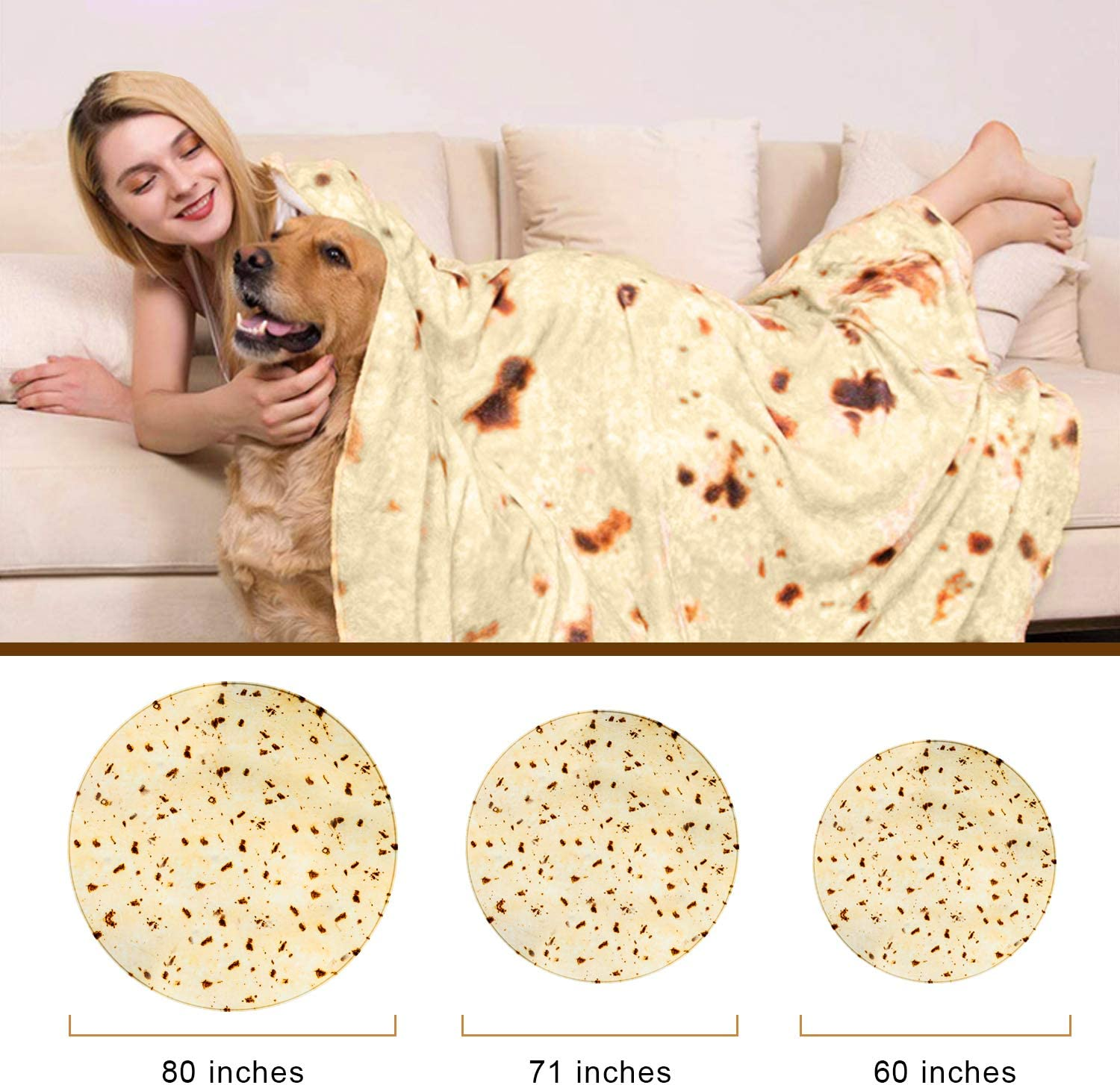 Burritos Wrap Throw Blanket Soft and Plush Novelty Fuzzy Blanket Comfort Wearable Flannel Blanket for Kids and Adults Diameter 60 inches Sivio Burritos Tortilla Blanket with Dual Sided Pattern