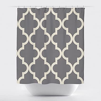 Studios Scalloped Shower CurtainLarge Ivory On Gray By Crystal Emotion
