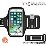 PORTHOLIC Universal Sweat Resistant Sports Armband For iPhone 6/6s/7/8/5, Samsung S7/S6/S5 or Any Screen Up to 5.1 inch -Extension Strap- Key&Card Holder, Cable Slot For Running,Jogging,Cycling(BLACK)