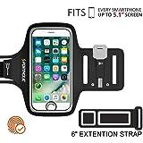 PORTHOLIC® Brazalete deportivo Para Deportes Más Correa De Extensión Con soporte para llaves, cables y tarjetas para iPhone 8/7/6,Galaxy S9/S8 Huawei, Bq x5, HTC, LG hasta 5.1 pulgas (negro+)