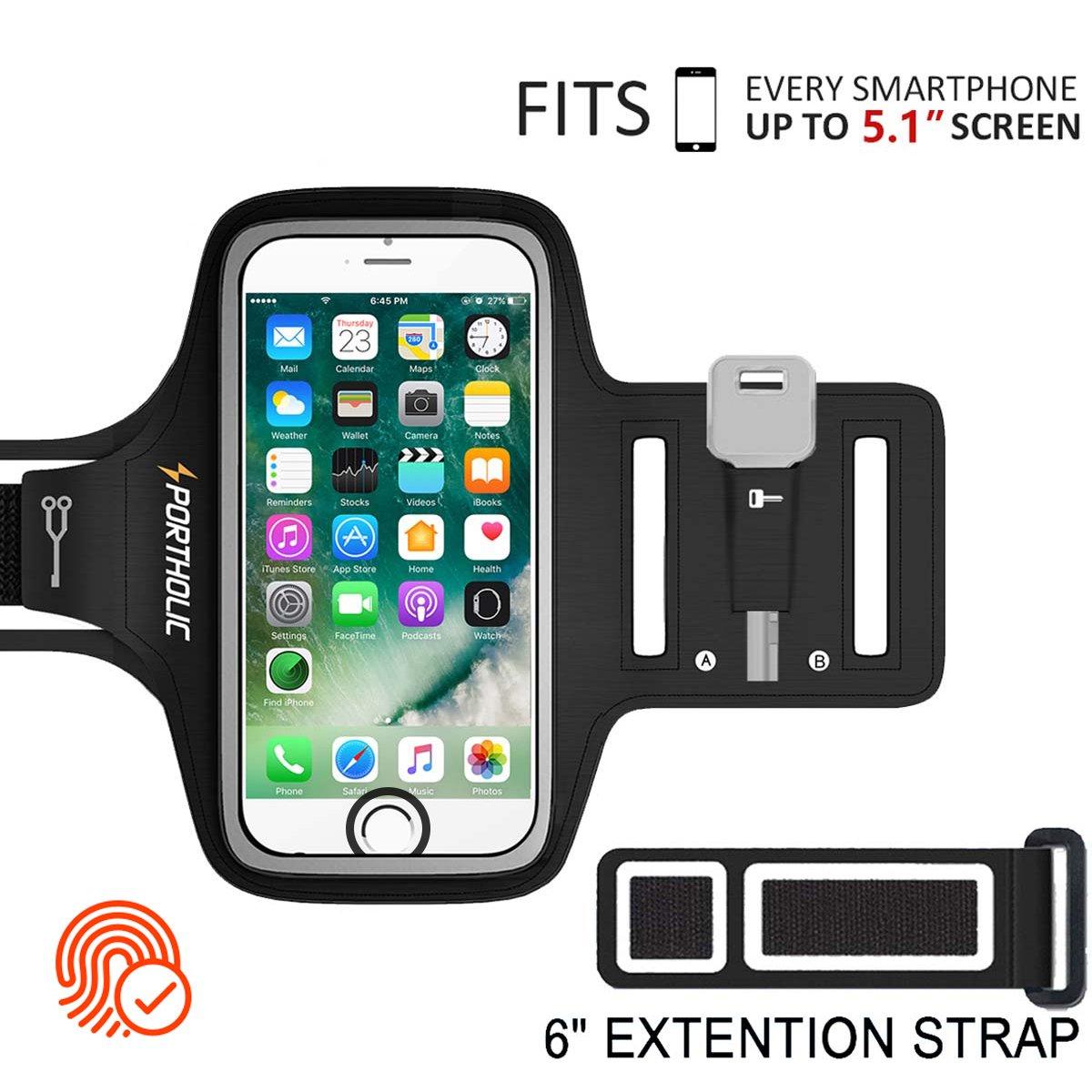 PORTHOLIC® Brazalete deportivo Para Deportes Más Correa De Extensión Con soporte para llaves, cables y tarjetas para iPhone 8/7/6,Galaxy S9/S8 Huawei, ...