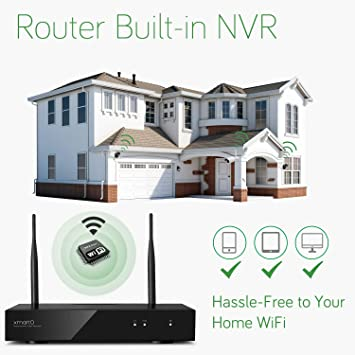 xmartO Wireless Security Camera System Outdoor, 4Pc 960P 1.3MP Night Vision WiFi Surveillance Camera for Home Security, Support Audio, 4CH 1080P NVR Built-in Router, Auto Pair, Mobile View, No HDD