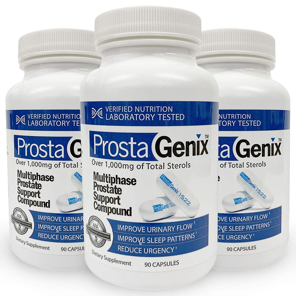 ProstaGenix Multiphase Prostate Supplement -3 Bottles- Featured on Larry King Investigative TV Show as Top Rated Pill - Over 1 Million Sold - End Nighttime Bathroom Trips, Urgency, Frequent Urination.