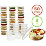 Plastic Food Storage Containers with Lids - Restaurant Deli Cups/Great for Slime, Party Supplies, Meal Prep and Portion Control - Leakproof and Microwave Safe - BPA Free (8 oz, Set of 50)