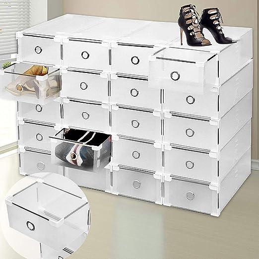 9 cajones de plástico caja de almacenamiento para zapatos organizador apilable transparente transparente plegable tamaño grande de alta calidad Armario Armario para las mujeres y los hombres – Claro: Amazon.es: Juguetes y