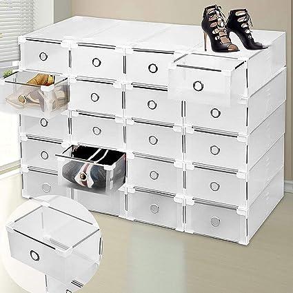 SURPZON 9 cajones de plástico Caja de Almacenamiento para Zapatos Organizador apilable Transparente Transparente Plegable tamaño Grande Armario ...