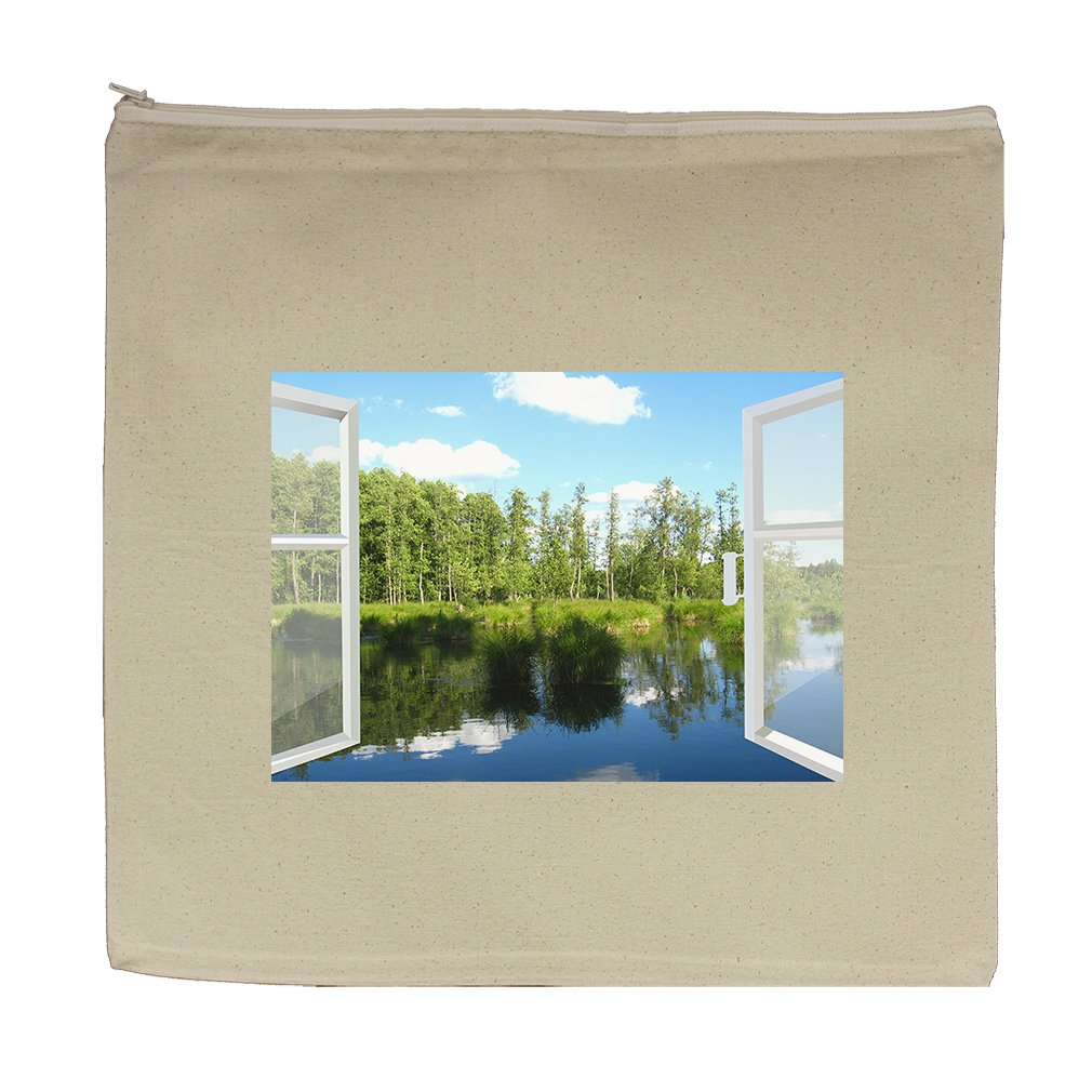 Canvas Zipper Pouch Tote 5.5''X7.5'' Opened Window To Summer Field Style In Print
