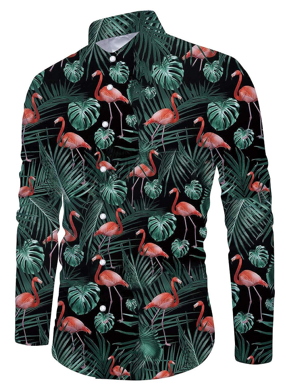 TALLA XL. Funnycokid Hombre Camisa Impreso Manga Larga con Botón Fiesta Estilo Hawaiana Navidad Camisas