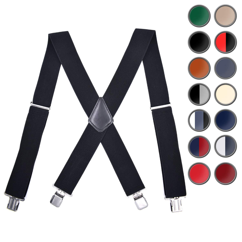 Brooben Men Suspenders Adjustable Elastic 2 Inch Wide Strong Clip Army Green SP2-ArmyGreen