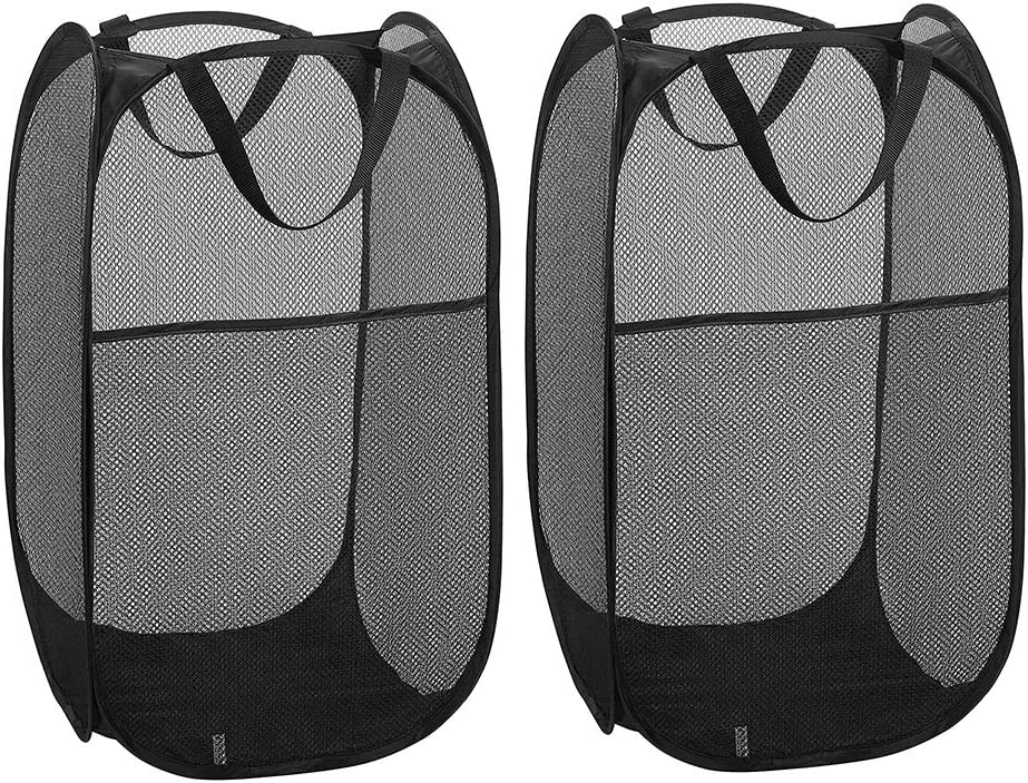 WD&CD 2PCS Laundry Baskets Foldable Pop Up Mesh Washing Laundry Basket Bag Bin Hamper Toy Tidy Storage Organiser Organizer(Black)
