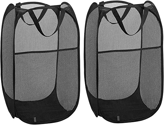 Great Hamper for Dorm Bedroom or Travel 2pcs Pop Up Mesh Hamper with Side Pocket and Reinforced Handles Fold to Storage and Easy to Open Solid Bottom and Sturdy Mesh Laundry Basket Collapsible