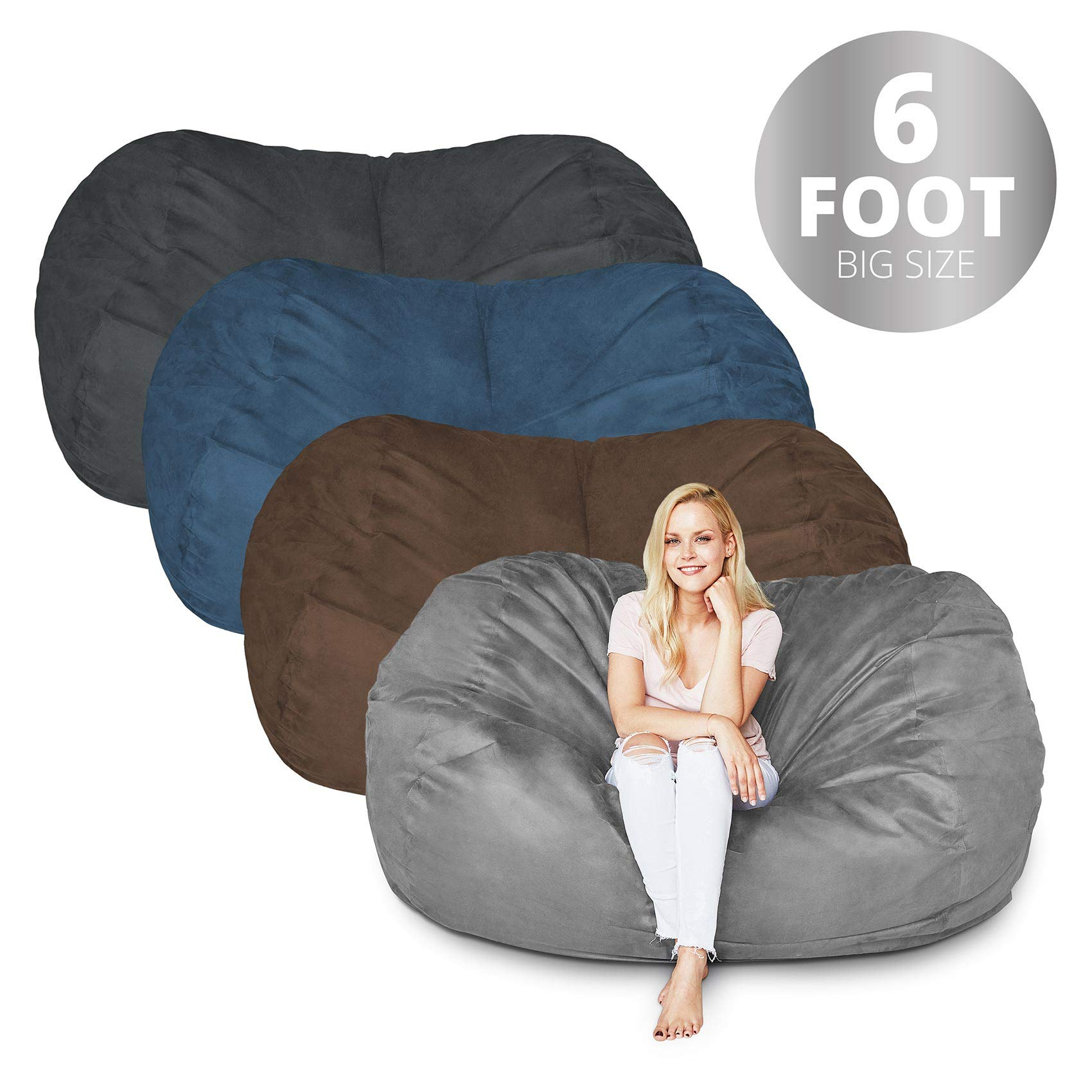 Bean Bag Chair | 6 Foot & Dark Grey | Microsuede Cover Machine Washable Big Size Sofa and Giant Lounger Furniture for Kids Teens and Adults by Lumaland