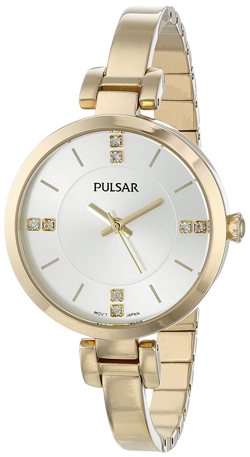 Pulsar Women s PH8034 Crystal-Accented Gold-Tone Watch with Link Bracelet