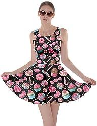 422a0325a4 CowCow Womens Cookies Lollipop Candy Macaroon Icecream Coffee Food Dessert  Skater Dress