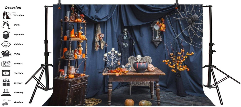 Halloween Horrific Wizard Skull Spider Cabweb Wodden Desk Backdrops 10x6.5ft Polyester Photography Backdgroud Pumpkin Festival Autumn Harvest Pray Cosplay Photo Protrais Artistic Studio Props