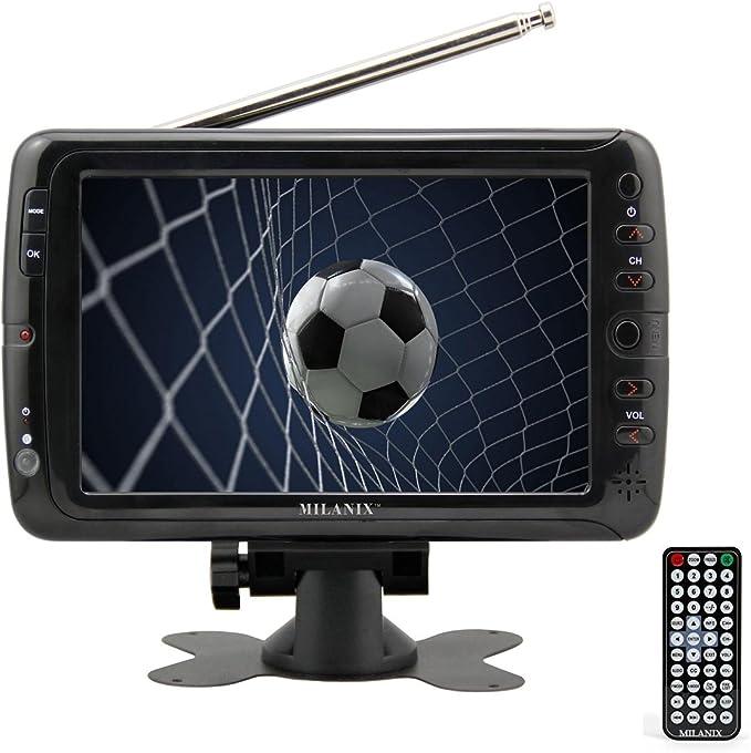 Milanix MX7 - Televisor portátil con Pantalla panorámica LCD de 7 Pulgadas con Antena extraíble, Ranura para Tarjeta USB/SD, sintonizador Digital ...