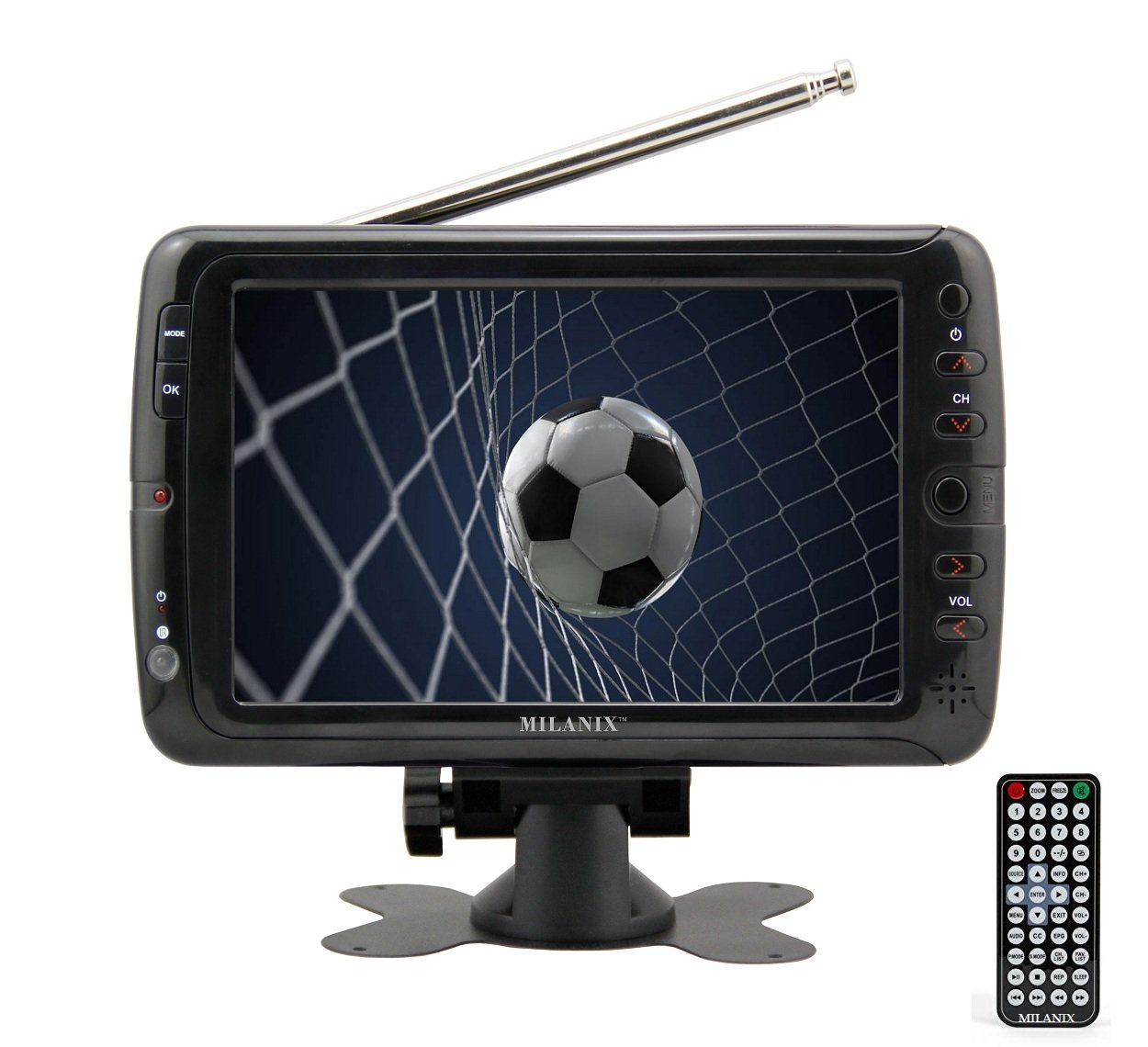 "Milanix MX7 7"" Portable Widescreen LCD TV with Detachable Antennas, USB/SD Card Slot, Built in Digital Tuner, and AV Inputs"