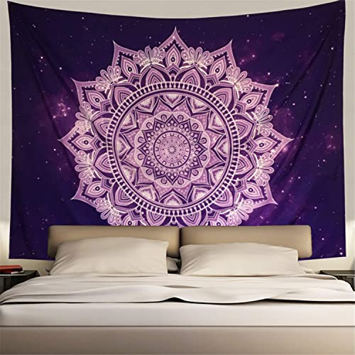 Heopapin Purple Wall Tapestry Wall Hanging Purple White Tapestry Flower Mandala Bohemian Tapestry Psychedelic Tapestry Galaxy Tapestry Hippie Milky Way Tapestry Sky Tapestry X-Large, Purple Mandala