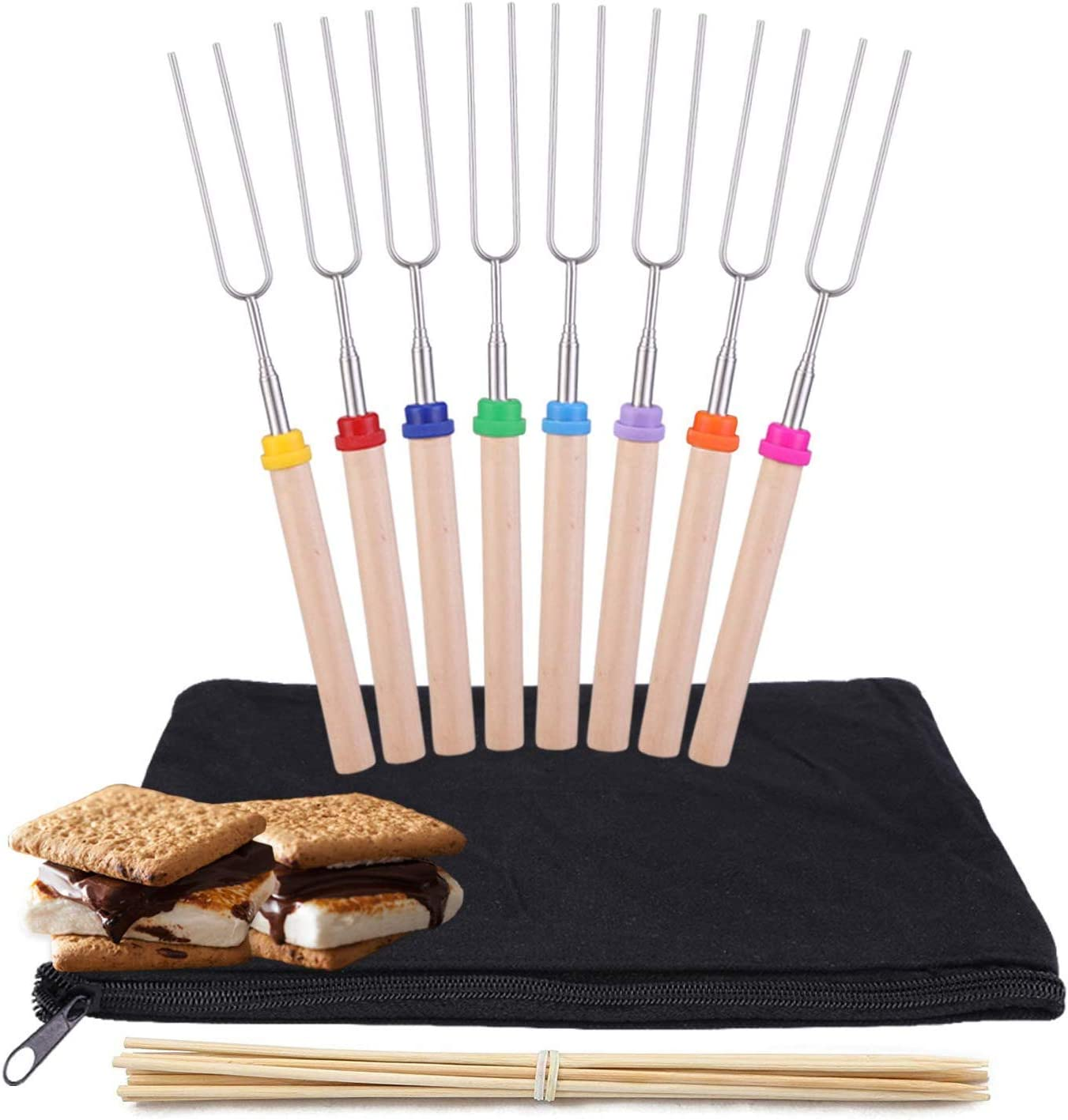 Y-ME Telescoping Marshmallow Roasting Sticks Set of 8 Hot Dog Forks&Smores Skewers Camping Cookware 32 Inch Campfire Roasting Sticks for Kids