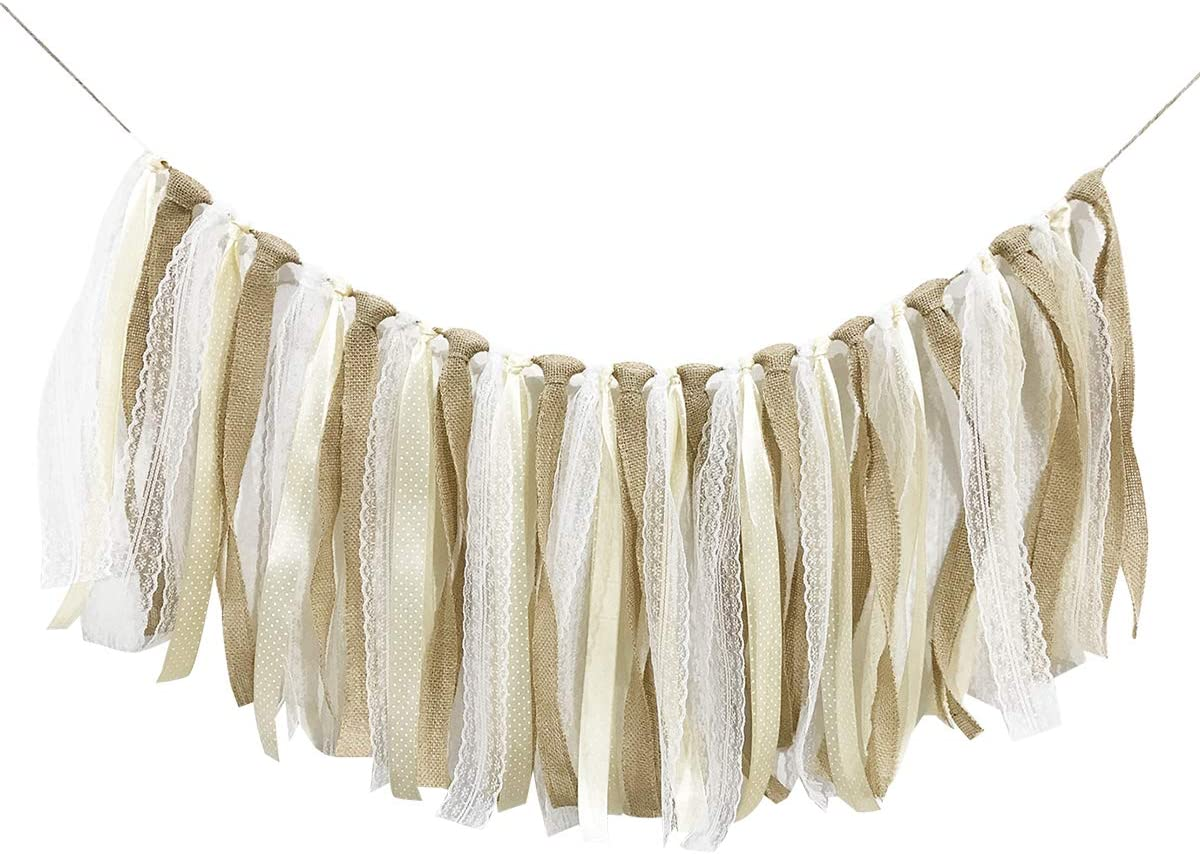 CIEOVO Burlap Lace Ribbon Tassel Garland Lace Rig Tie Burlap Banner for Baby Shower Rustic Wedding Backdrop Party Decor Shabby Chic Banner Nursery Photo Props (White lace)